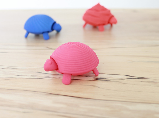 Squishy Turtle - Circle in Pink Strong & Flexible Polished