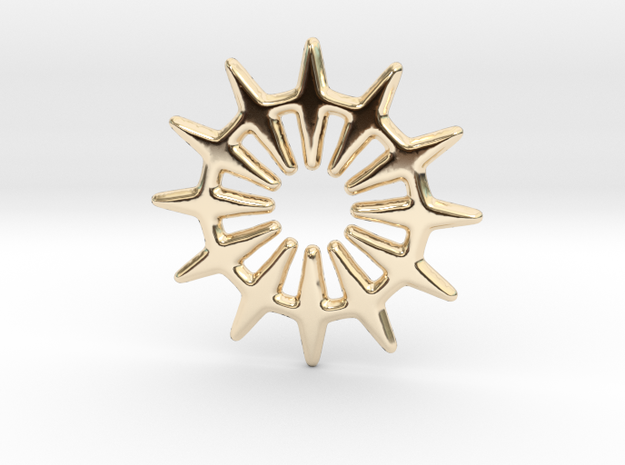 12 pointed star for pendants & earrings in 14k Gold Plated Brass