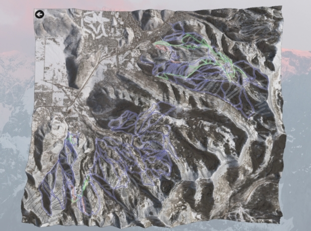Park City Ski Map, Utah - Winter in Full Color Sandstone