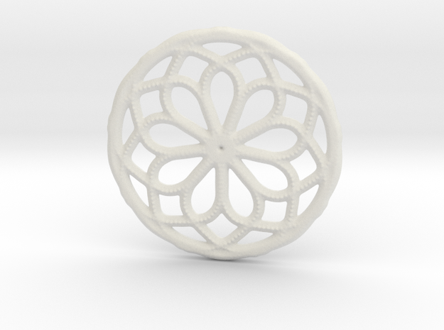 Mandala pendant or earrings with small dots in White Natural Versatile Plastic