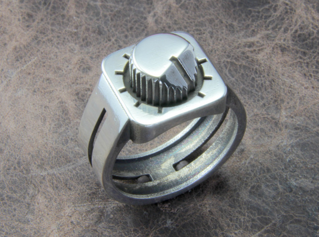 303 Acid Ring in Polished Silver: 10 / 61.5