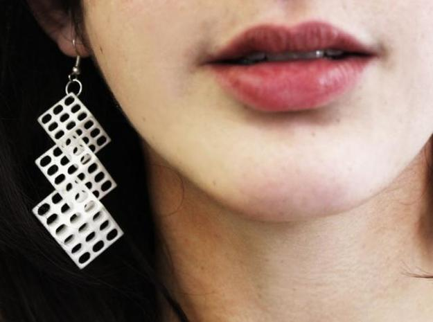 Triple Matrix Earrings in White Strong & Flexible Polished