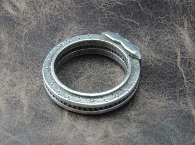 Disc brake Ring 3d printed This material is Polished Silver , Patinated with bleach