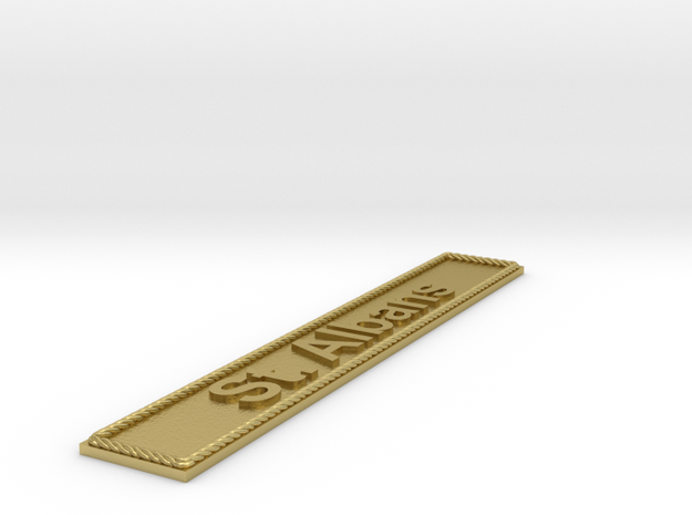 Nameplate St. Albans in Natural Brass