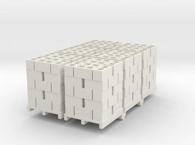 Pallet Of Cinder Blocks 5 High 6 Pack 1-50 Scale in White Natural Versatile Plastic