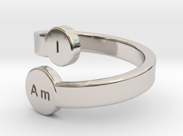 I Am Bypass Ring in Rhodium Plated Brass