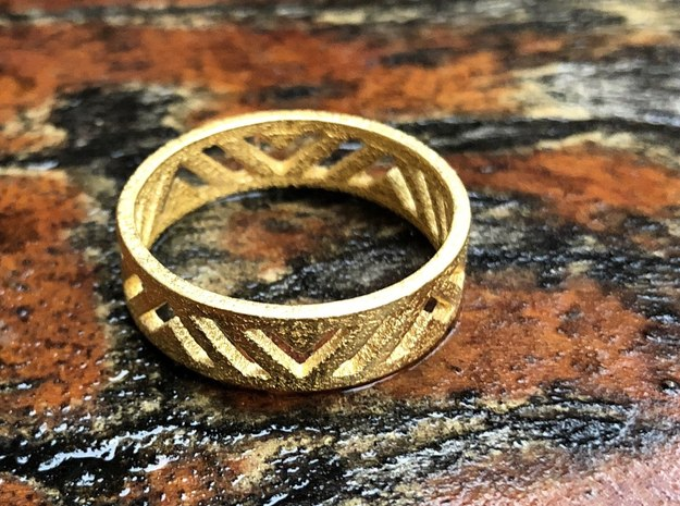 Light Angle Ring in Polished Gold Steel