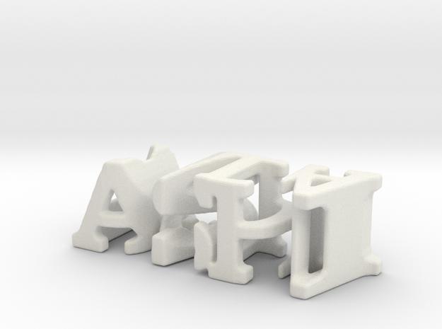 3dWordFlip: ashi/dada in White Natural Versatile Plastic