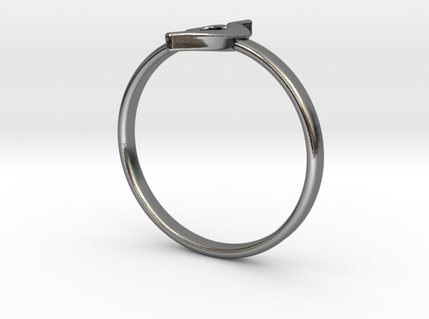 NEDA symbol ring size 4.5 in Polished Silver