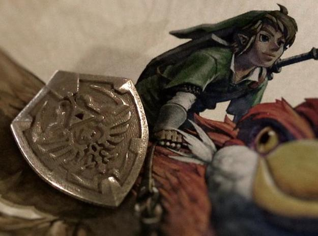 Link's Shield Pendant in Polished Bronzed Silver Steel