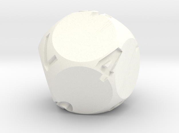 d9 Sphere Dice in White Processed Versatile Plastic