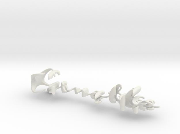 3dWordFlip: Ginette/Claudette in White Natural Versatile Plastic