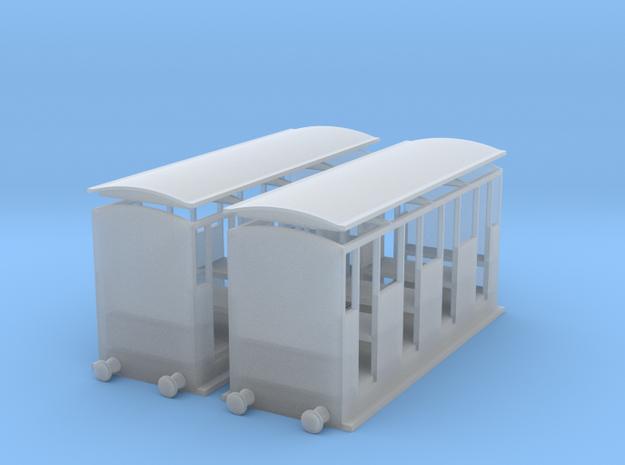 009 Talyllyn Railway style open coach x2 in Smooth Fine Detail Plastic