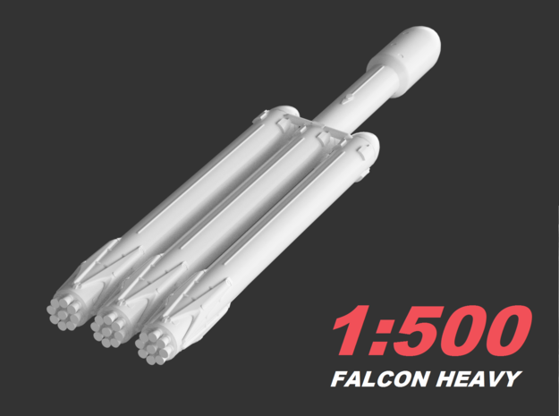 Falcon Heavy 1:500 in Smooth Fine Detail Plastic