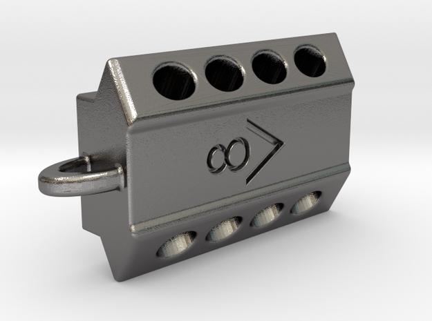 V8 engine keychain in Polished Nickel Steel