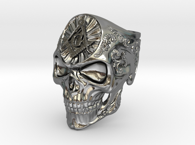 Masonic Mortality Ring in Polished Silver