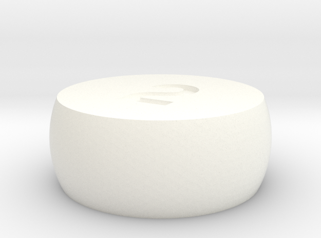 d2 Sphere Dice in White Processed Versatile Plastic