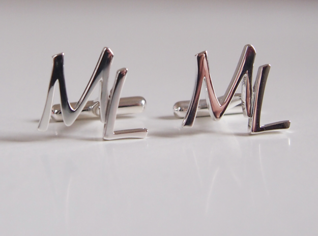 Cuff links ML in Fine Detail Polished Silver