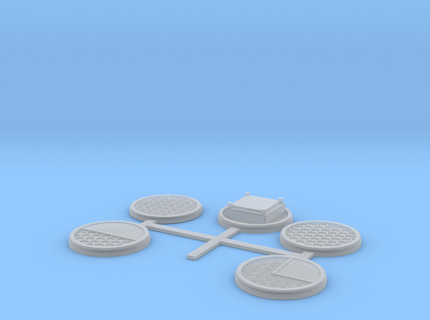 5 x 32MM Sci-Fi factory bases in Smooth Fine Detail Plastic