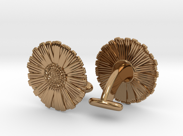 Daisy Cufflinks in Polished Brass