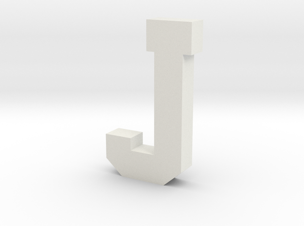 Decorative Letter J in White Natural Versatile Plastic