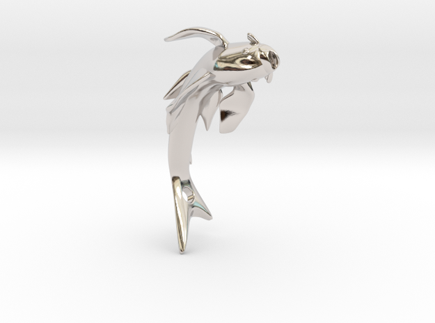 Koi Fish Pendant 4cm in Rhodium Plated Brass