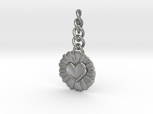 Daisy Heart Keychain Charm in Natural Silver (Interlocking Parts)