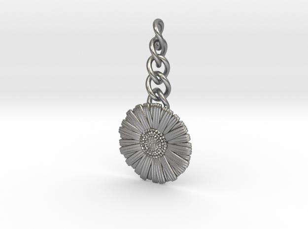 Daisy Keychain Charm in Natural Silver (Interlocking Parts)