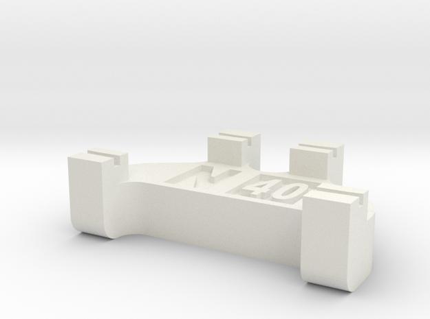 N Scale Track Gauge - Code 40 in White Natural Versatile Plastic