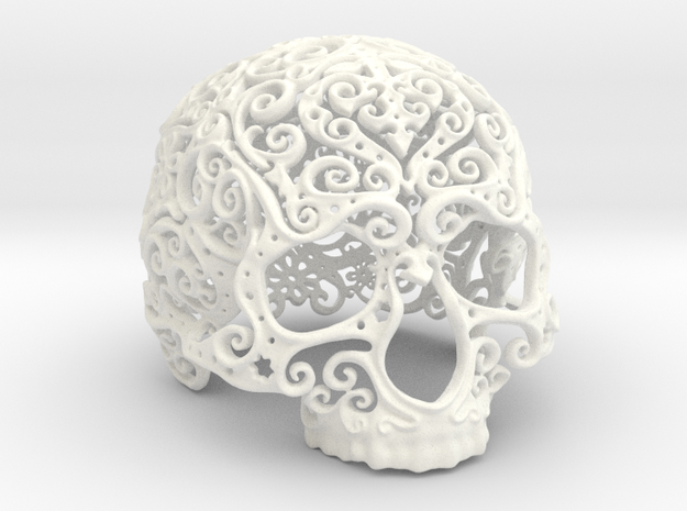 Intricate Filigree Skull 10cm in White Processed Versatile Plastic