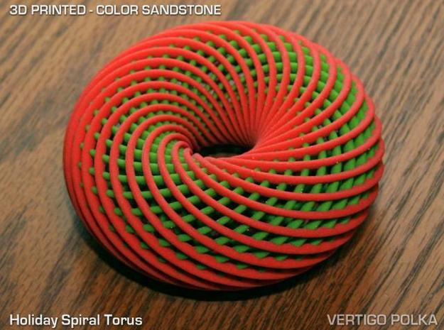 Holiday Spiral Torus in Full Color Sandstone