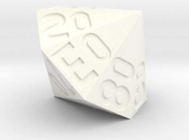 d16 Hex Percentile Die in White Processed Versatile Plastic