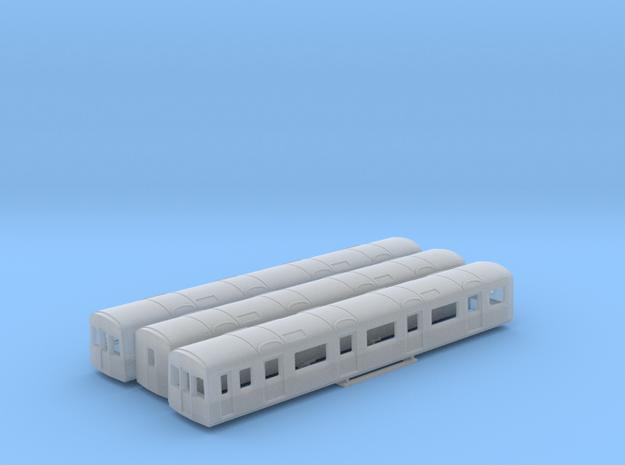 N Gauge D78 Underground Kit 3 Car bodies only in Smooth Fine Detail Plastic