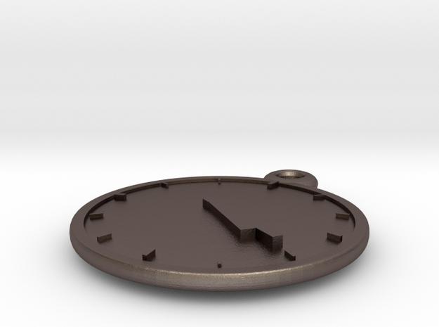 Clock Keychain - Four Twenty in Polished Bronzed Silver Steel