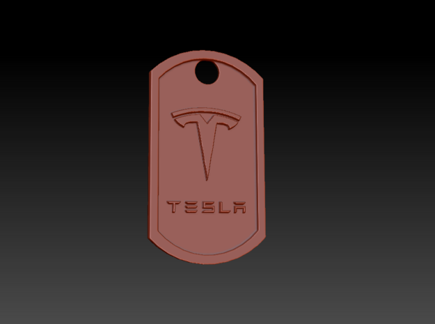 Tesla Themed Dog Tag in Polished Bronzed Silver Steel