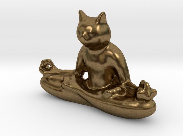 Meditating Cat in Natural Bronze: Medium