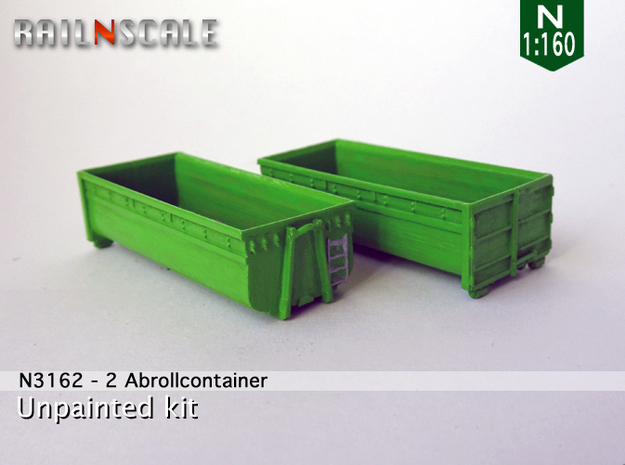 2 Abrollcontainer (N 1:160) in Smooth Fine Detail Plastic