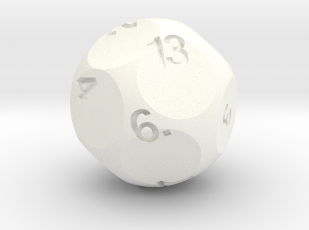 d13 Sphere Dice Alt in White Processed Versatile Plastic