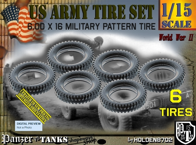 1/15 Tire 600x16 Six Units Set in Frosted Ultra Detail