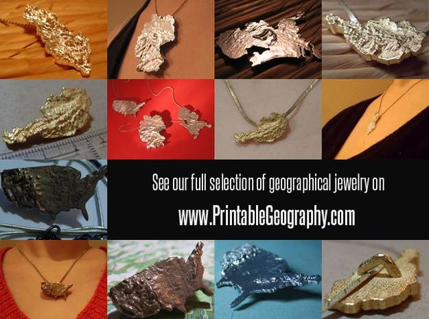 South Africa Terrain Silver Pendant 3d printed www.printablegeography.com