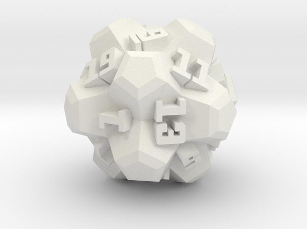 Brutalist Dice Set — Version 2 Singles in White Natural Versatile Plastic: d20