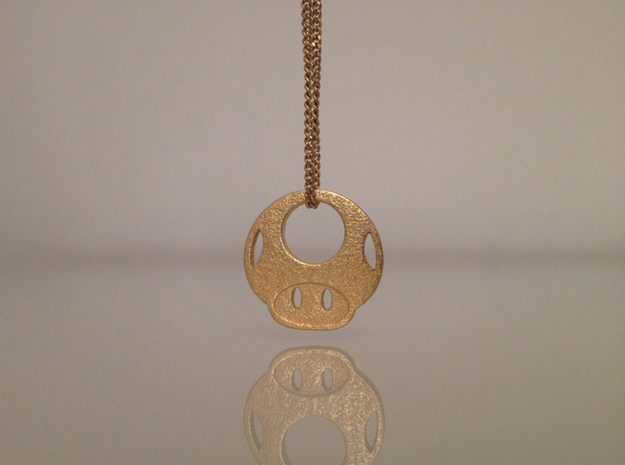 Mario Mushroom in Polished Gold Steel