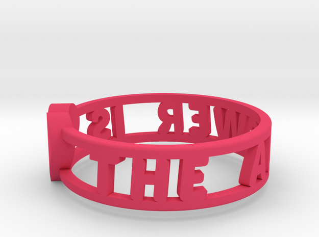 The Answer Is w/ Heart Charm, Pink Nylon Plastic