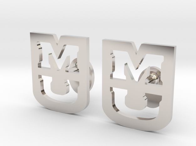 University of Missouri Cufflink, Customizable in Rhodium Plated Brass