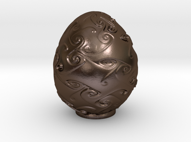 Egg No 4 - 75mm in Polished Bronze Steel: Small