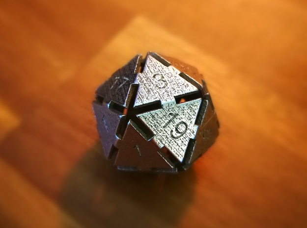 Plate D20 in Polished Bronzed Silver Steel