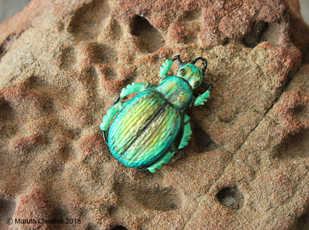 Green Carab Beetle ornament or pendant in White Processed Versatile Plastic