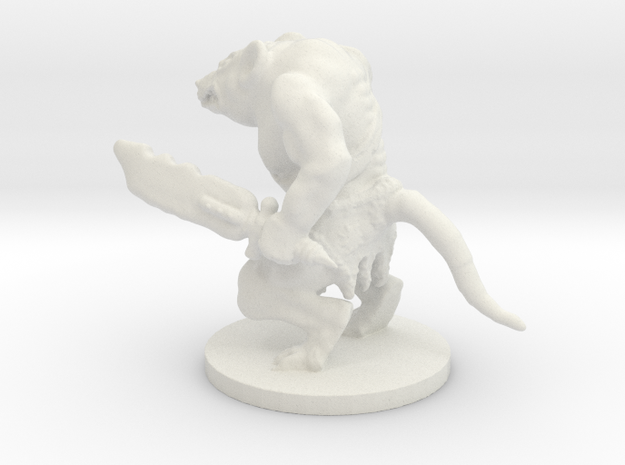 Rat'zerker with base in White Natural Versatile Plastic