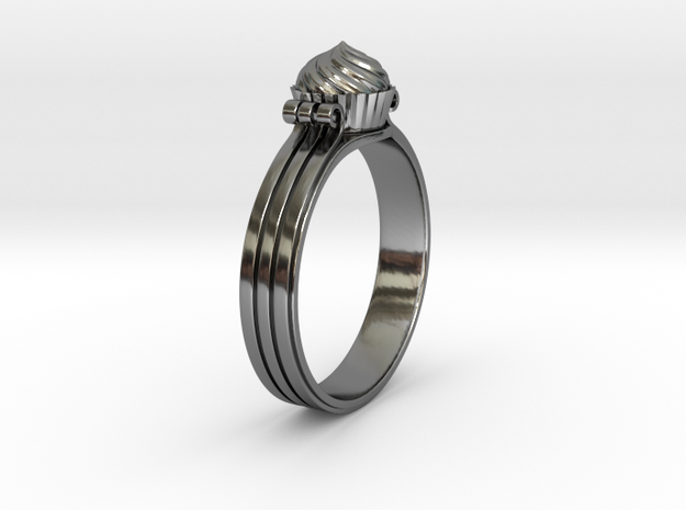 Cupcake Ring in Fine Detail Polished Silver