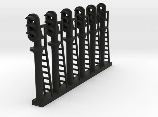 Block Signal 3 Light (Qty 6) - N 160:1 Scale in Black Natural Versatile Plastic